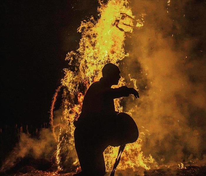 Person near a fire